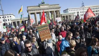 A protest rally in Berlin against a proposed EU-US trade pact
