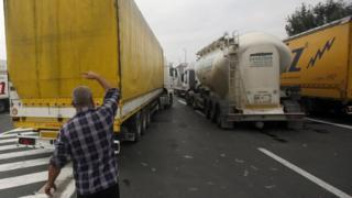 Freight blockage at the Serbian-Croatia border, 24 Sept