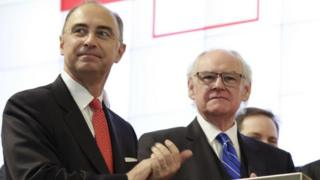 LSE chief executive Xavier Rolet (L) and chairman Donald Brydon (R)