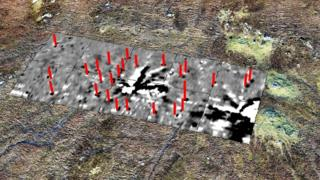 Geophysics survey of stone circle showing lightning strike