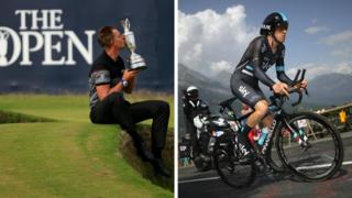 Henrik Stenson celebrates winning the Open Championship and Geraint Thomas competes in the Tour de France