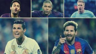 Neymar da Mbappe da Kevin de Bruyne da Cristiano Ronaldo da Lionel Messi