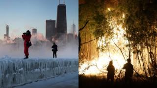 Chicago congelado e incendio forestal en Australia