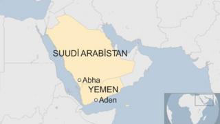 Suudi Arabistan ve Yemen haritası