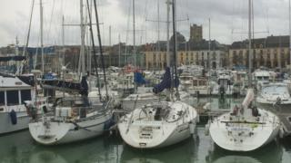 sailboats at Dieppe marina