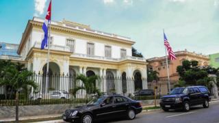 ساختمان وزارت روابط خارجی کوبا هنگام دیدار وزیر خارجه آمریکا از آن کشور