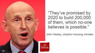 John Healey saying: They've promised by 2020 to build 200,000 of them, which no-one believes is possible.