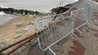 Damage on the Old Colwyn sea front