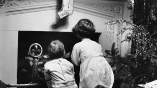 Children waiting for Santa in the 1950s