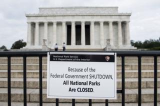 Lincoln Monument in 2013 shutdown