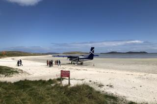 Plane on the beach at Barra