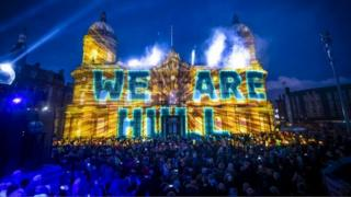 We Are Hull projections on the maritime museum