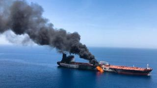 Oil tanker on fire following an attack in the Gulf of Oman on 13 June