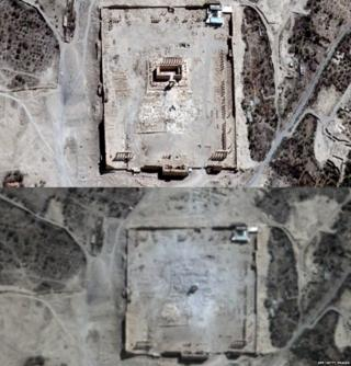 This combination of handout pictures provided on August 31, 2015 by UNITAR-UNOSAT shows close-ups of satellite-acquired images with (TOP) the Temple of Bel seen in Syria's ancient city of Palmyra on August 27, 2015 and (BOTTOM) rubble seen at the temple's location on August 31, 2015.