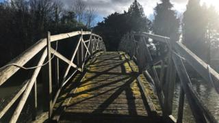 Wooden bridge at the Trout