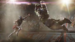 Chris Hemsworth with 'Hulk' in Thor: Ragnarok