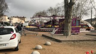 scene of fairground accident in southern France, Nueville-sur-Saone, 31 March 2018