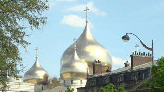 The golden spires of the Russian Orthodox Cathedral de la Sainte-Trinité in Paris
