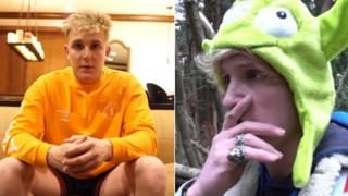 Jake Paul and Logan Paul in screenshots from their videos