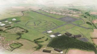 An impression of Dyson's electric car test track at Hullavington in Wiltshire