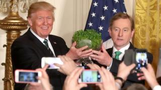 Enda Kenny gives Donald Trump a bowl of shamrock