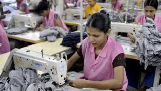 Woman in Bangladesh working in a textiles factory