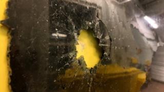 Ambulance's broken window