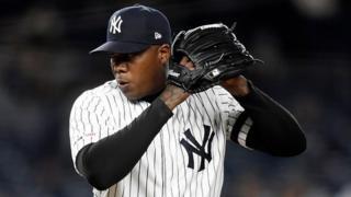 Aroldis Chapman of the New York Yankees pitches during a game at Yankee Stadium