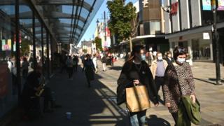 Shoppers in Newcastle wearing masks