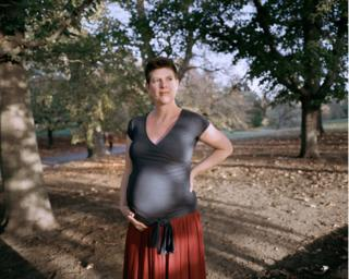 Ellen in Greenwich park 2 weeks before her birth at a birthing suite at the Queen Elizabeth hospital in Woolwich.