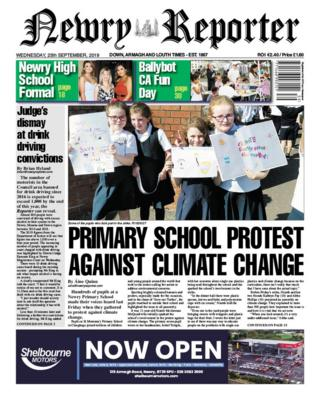 Front page of the Newry Reporter