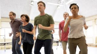 The cast of Reasons To Stay Alive in rehearsals