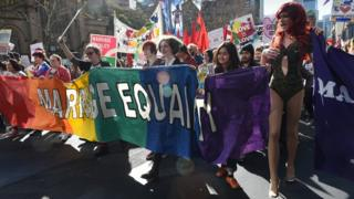 Marriage equality protesters march in Sydney