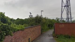 Footpath where one of the attacks happened in Spondon