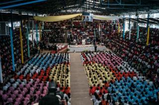 Welcome of Pope Francis in Akamasoa in Antananarivo, Madagascar, 08 September 2019.