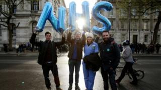 Striking doctors in central London