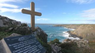 Wooden cross at Beagle Point. Pic: Royal Navy