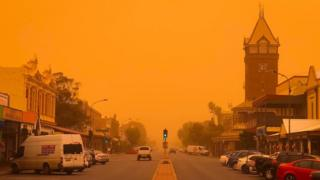 An orange sky covers the town of Broken Hill in New South Wales