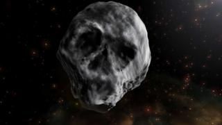 An artist impression of the Halloween asteroid shaped like a human skull
