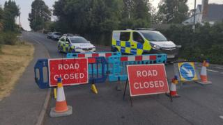 Police cordon on Station Road