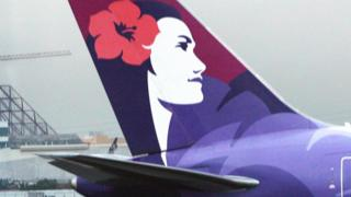 The tail-fin of a Hawaiian Airlines aircraft