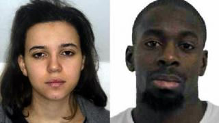 Composite image of Hayat Boumeddiene (L) with Amedy Coulibaly