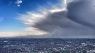 A snow cloud over London on 27 February 2018