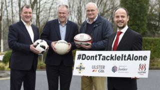 Anthony Harbinson with (left-right) IFA CEO Patrick Nelson, Ulster GAA Secretary Brian McAvoy and Ulster Rugby CEO Shane Logan