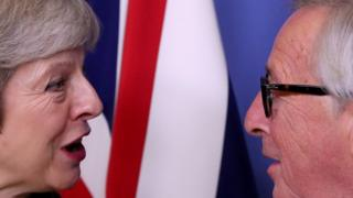 British Prime Minister Theresa May meets with European Commission President Jean-Claude Juncker to discuss Brexit, at the EU headquarters in Brussels, Belgium December 11, 2018.