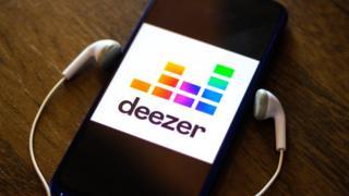 Technology Deezer app on a smartphone
