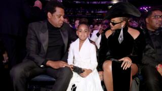 Blue Ivy with Jay-Z and Beyonce at the Grammys