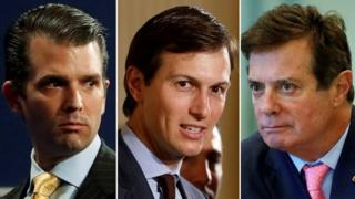 Combination of pictures show Donald Trump's eldest son, Donald Trump Jr, his son-in-law Jared Kushner and his former campaign manager Paul Manafort