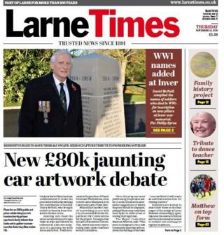 The front page of the Larne Times