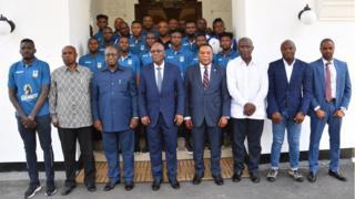 President Magufuli, Coach Emmanuel Ammunike and di Taifa Stars wey be senior national football team of Tanzania